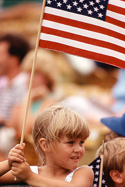 Young girl with flag photo